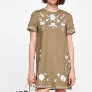 Zara Woman Dress Linen Shift Embroidered XL